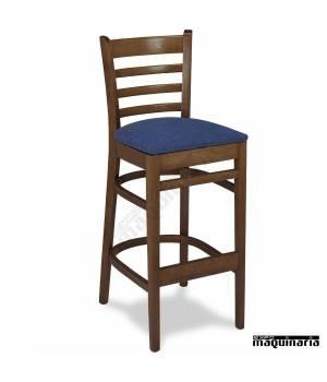 Taburete 27 madera de haya con respaldo asiento tapizado