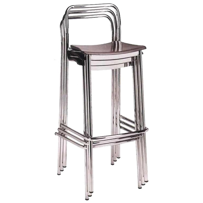 Taburete apilable bar 5r30macr cromado asiento madera - Taburetes bar ...