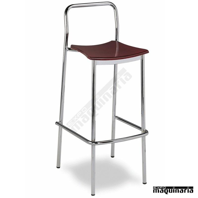 Taburete apilable bar 5r30macr cromado asiento madera for Taburete bar madera