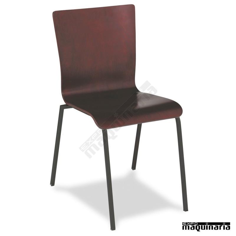 Silla bar hosteler a 1r46ma apilable silla madera de haya for Sillas para bar economicas