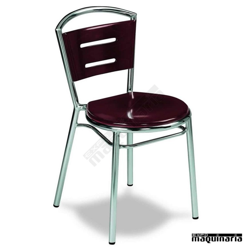 Silla aluminio madera 1r56ma apilable silla de aluminio for Sillas de aluminio