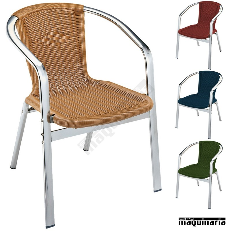 Sillon bar aluminio 2r82 apilable for Sillones de aluminio para jardin