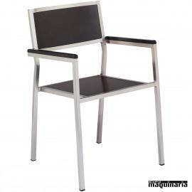 Sillón aluminio inox 2R98MA madera