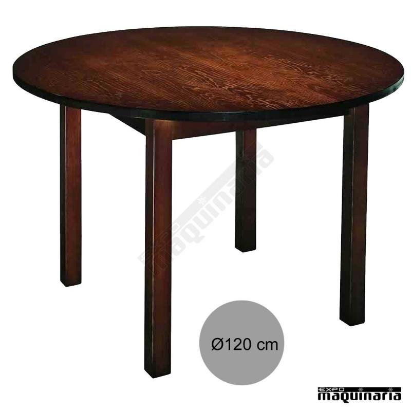 Mesa bar redonda 1r7r madera for Mesa redonda de madera para cocina
