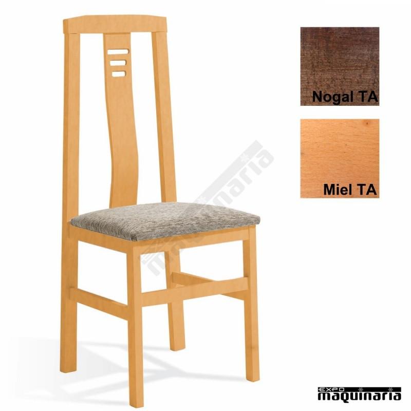 Silla madera tapizada 1t089 for Sillas madera baratas