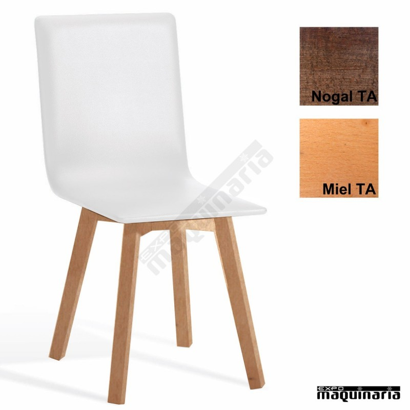 Silla bar madera tapizada 1t290 for Sillas de madera para bar