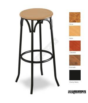 Taburete bar 5R01 asiento madera