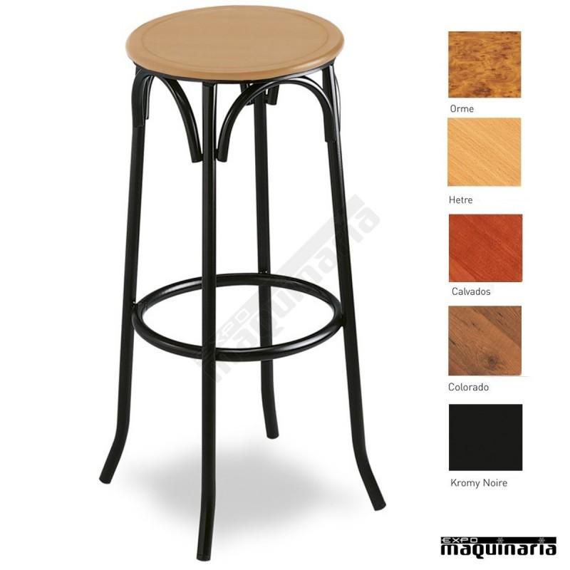 Taburete bar 5r01 asiento madera de interior tubo acerado for Taburetes de bar de madera