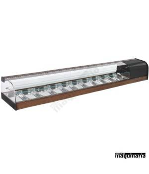 Vitrina doble piso refrigerada VGFR10iE bandejas cristal curvo