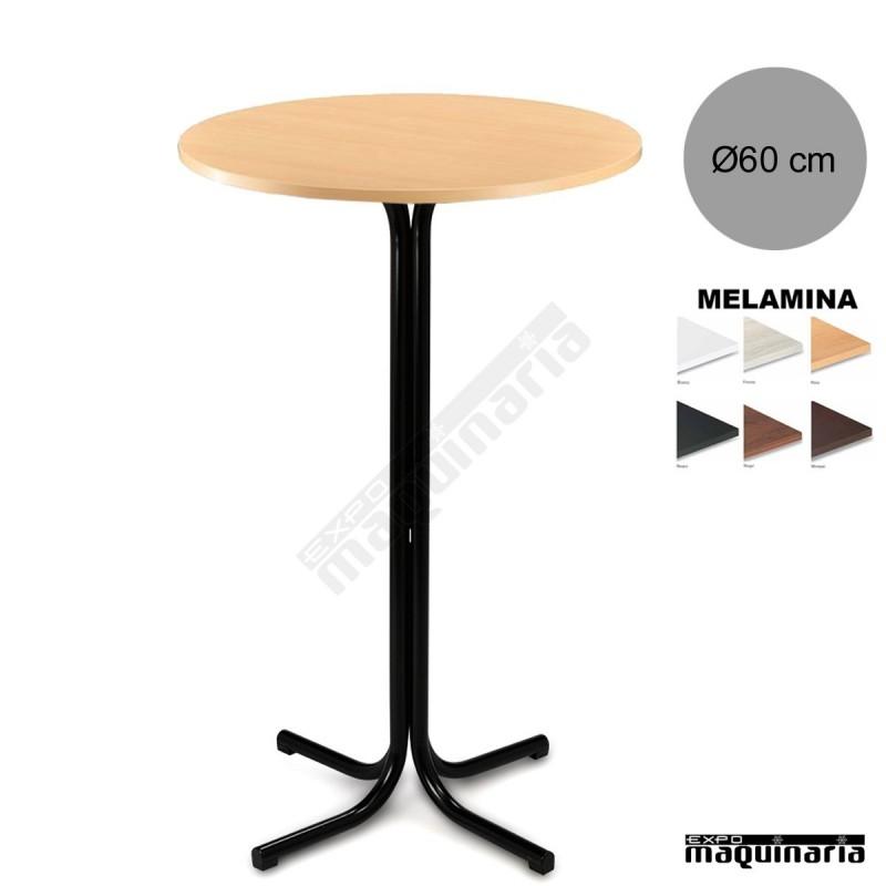 Mesa alta bar 3r000mer tubo acerado tablero melamina for Mesas altas de bar de madera