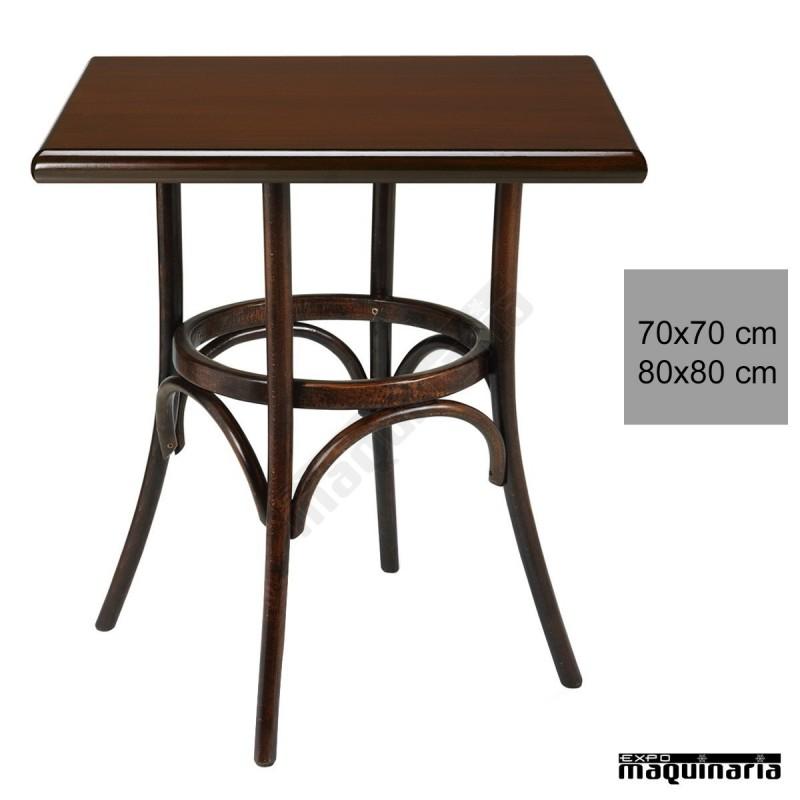 Mesa bar madera haya 4r8c cuadrada barnizada color nogal for Mesa carro bar madera