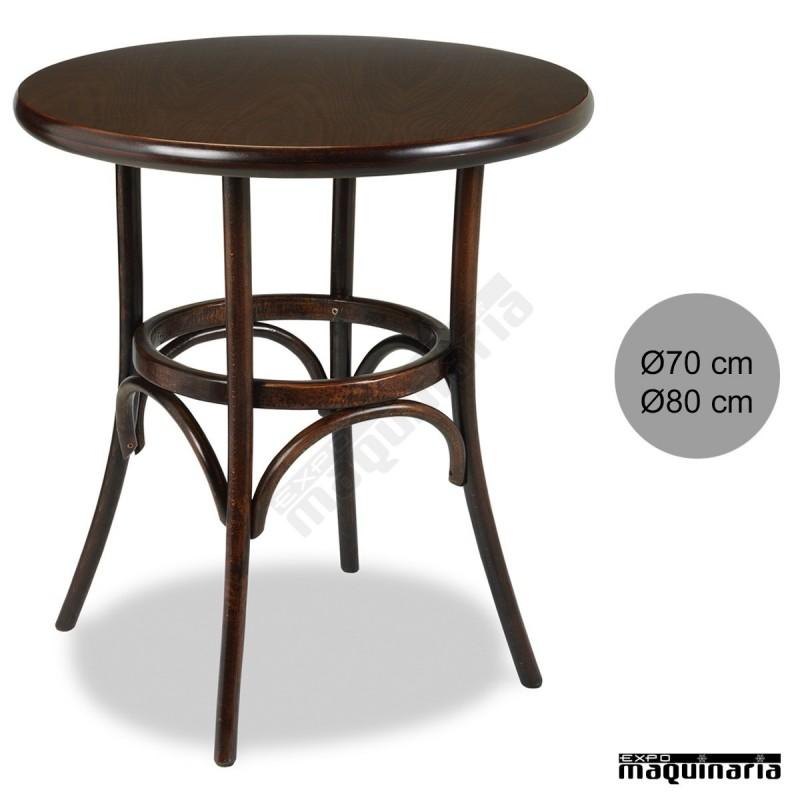 Mesa redonda bar madera haya 4r8r barnizada color nogal for Mesas de madera para bar