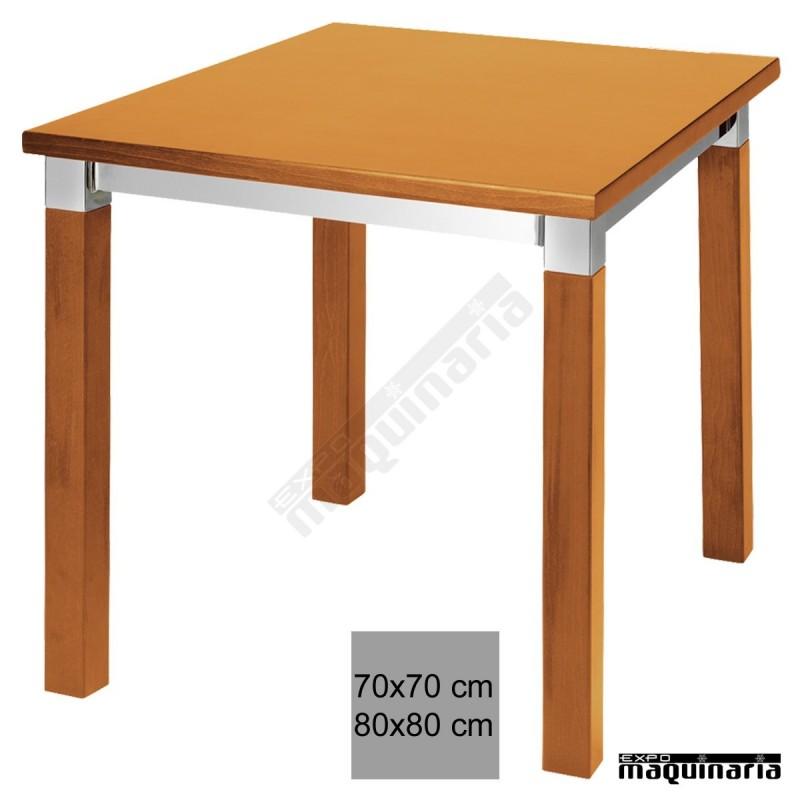 Mesa hosteler a madera 3r801 de haya barnizada for Mesa 70x70 madera
