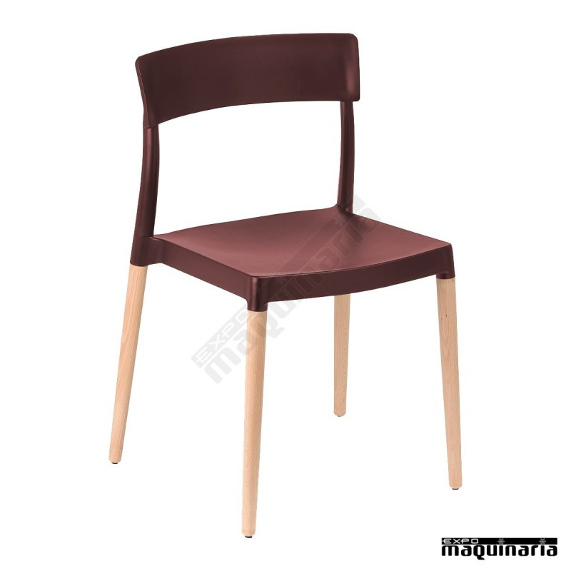 Silla madera hosteler a apilable mrlillymad tiene patas de for Sillas madera cafeteria