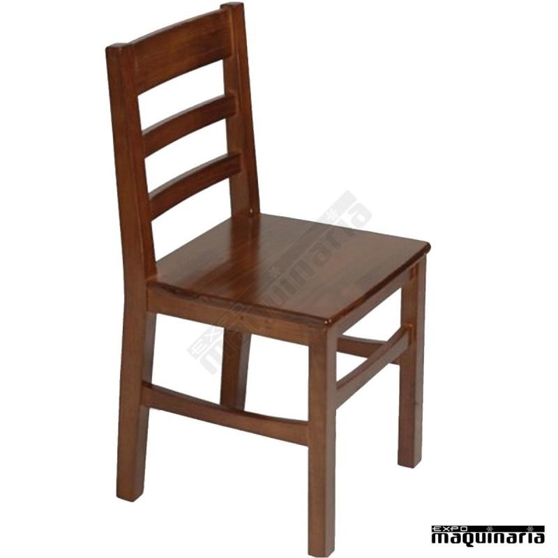 Silla en madera de pino 1f492 en tonos nogal - Restaurar sillas de madera ...
