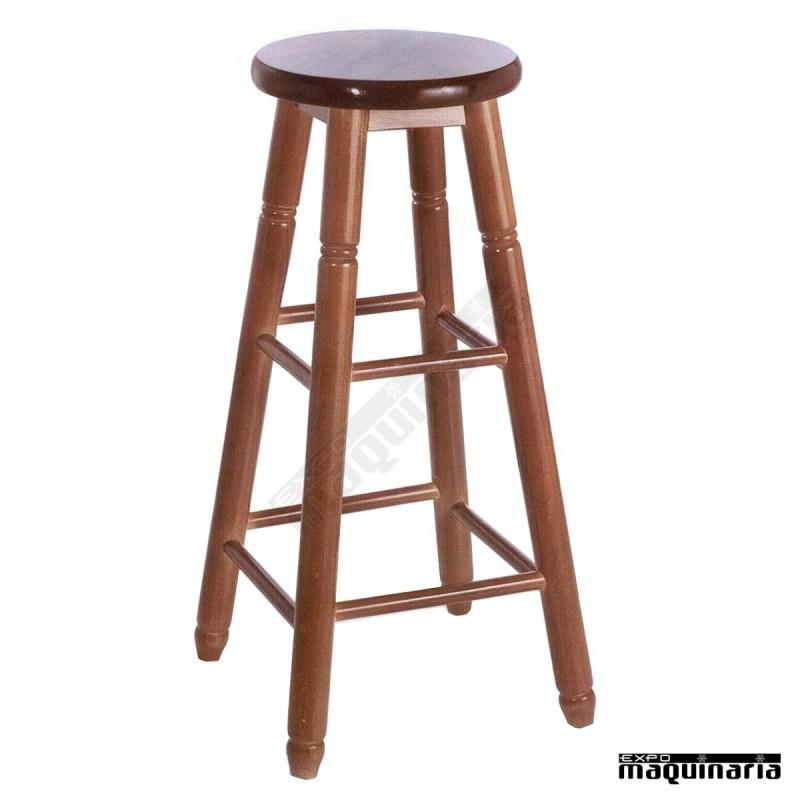 Taburete bar facolonial t alto madera de pino asiento en for Bar movil de madera