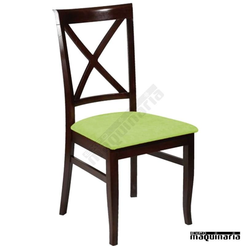 Silla 1f562 de madera de haya y asiento tapizado for Sillas tapizadas colores