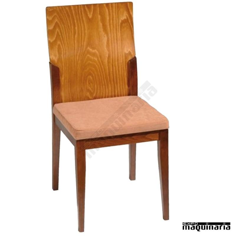 Silla de madera tapizada falombardia madera de haya for Sillas de madera clasicas tapizadas
