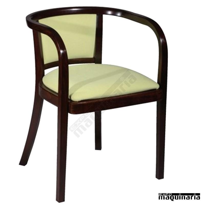 Sillon hosteleria madera haya respaldo y asiento tapizado for Sillones de madera para terraza