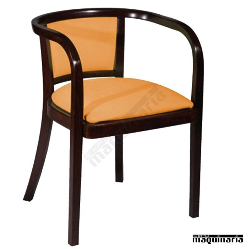 Sillon hosteleria madera haya respaldo y asiento tapizado for Sillon terraza madera
