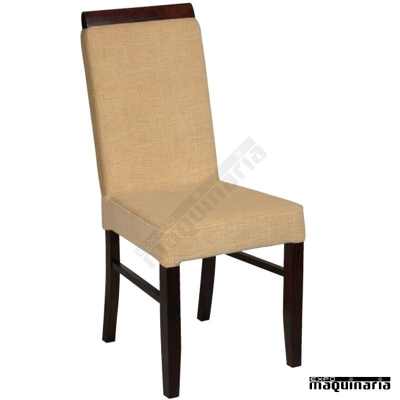 Silla de madera haya falaussane asiento y respaldo alto tapizado - Sillas provenzal tapizadas ...