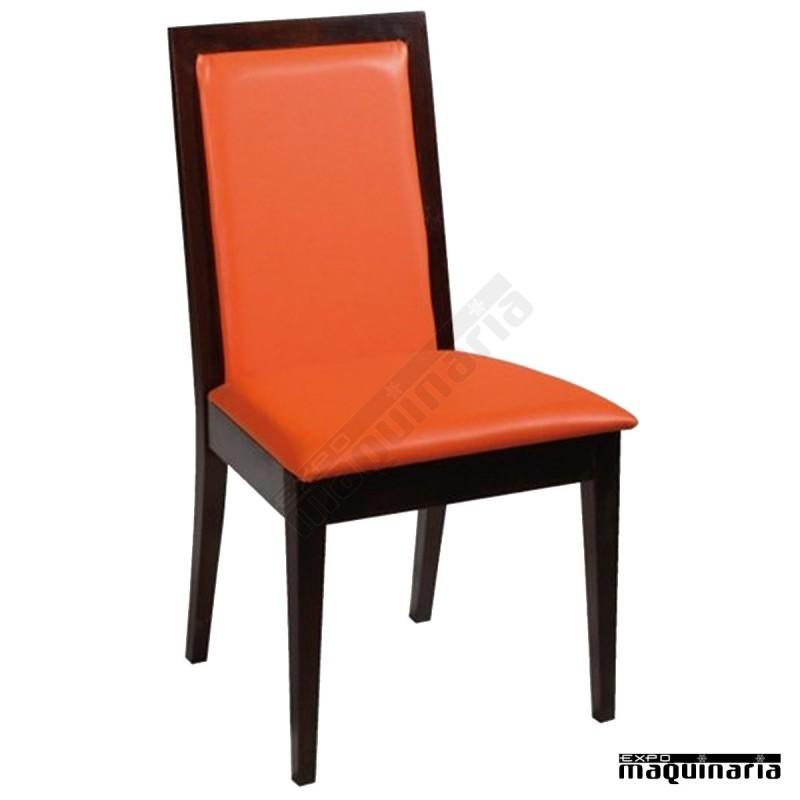 Silla madera tapizada familan hosteleria de madera y asiento tapizado - Sillas de madera precios ...