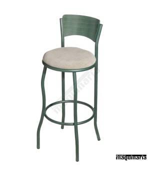 Taburete alto FAEVORA-T con respaldo acero y madera asiento tapizado