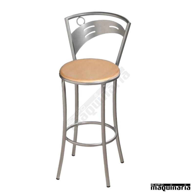 Taburete alto bar facibeles t con respaldo de acero y asiento tapizado - Taburetes bar ...