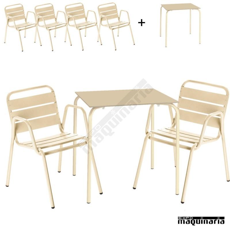conjunto terraza mesa y 4 sillones issita dan