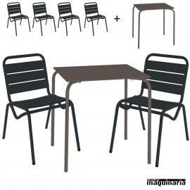 Conjunto terraza mesa y 4 sillones ISSITA-DAN color antracita