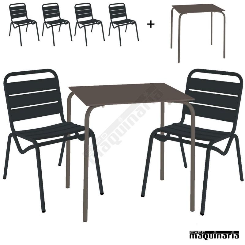 Conjunto terraza mesa y 4 sillas issita dan for Conjunto terraza