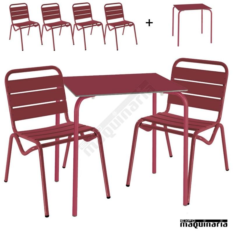 Conjunto terraza mesa y 4 sillas issita dan for Conjunto mesa y sillas terraza