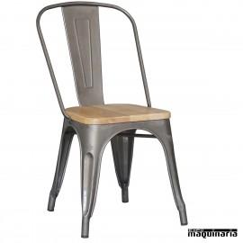Silla vintage de acero y madera DL801W (tipo tolix)