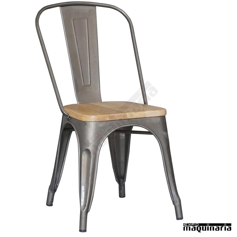 Silla vintage de acero y madera dl801w acero galvanizado - Sillas vintage baratas ...