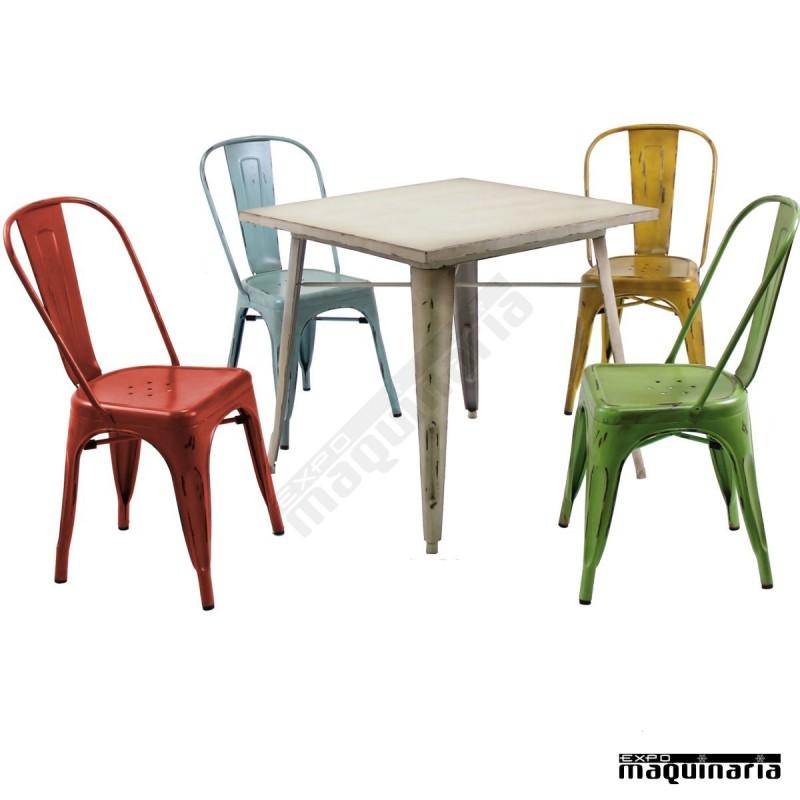 Silla vintage de acero dl801a sillas de bar sillas de terraza - Sillas de plastico para terraza ...