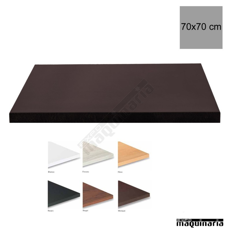 Tablero para mesas de melamina 70x70 cm con acabado en - Tablero para exterior ...