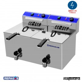 Freidora eléctrica de sobremesa REFE-10+10MP de 10+10 litros