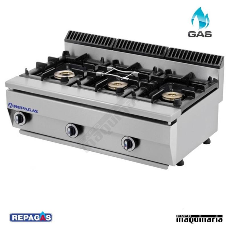 Cocina industrial de tres quemadores de gas c 530 pm alta for Fogones industriales a gas