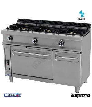 Cocina industrial Repagas RGCG531-G tres quemadores, horno y gratinador.