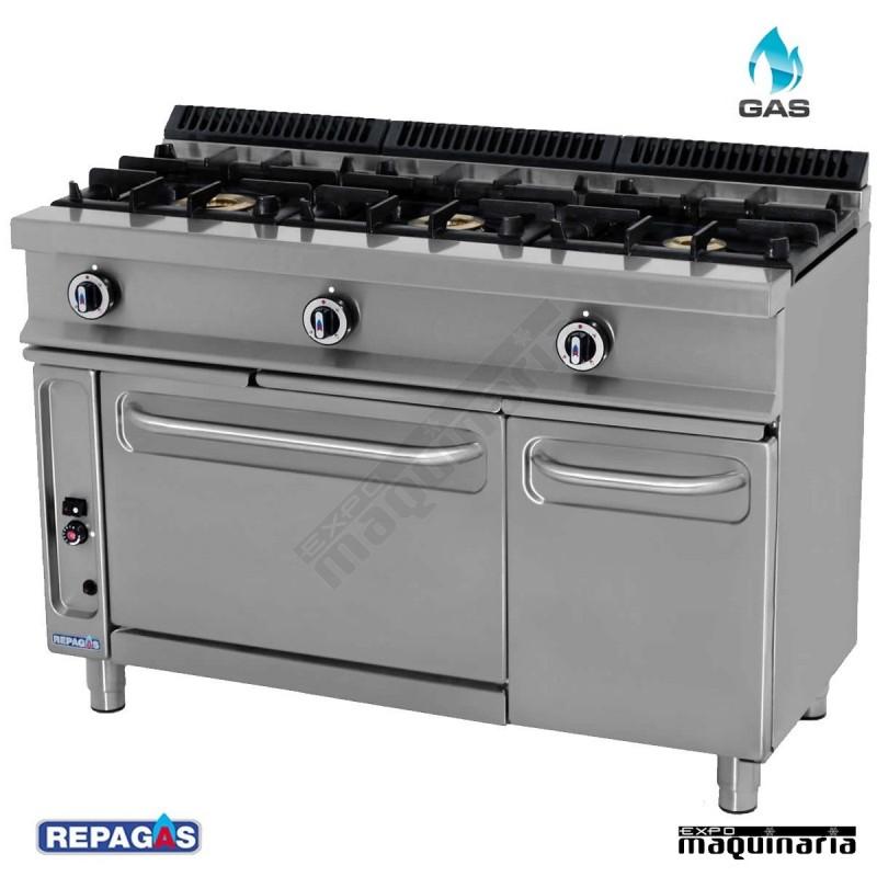 Cocina industrial cg531 g con horno tres quemadores y for Fogones industriales a gas