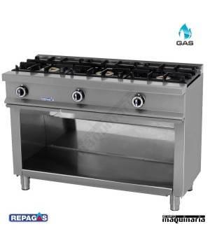 Cocina industrial Repagas CG530 tres quemadores a gas y mueble.