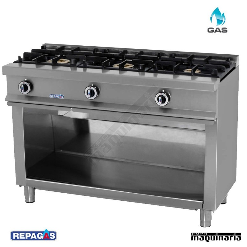 Cocina industrial Repagas RGCG530 tres quemadores a gas y mueble.