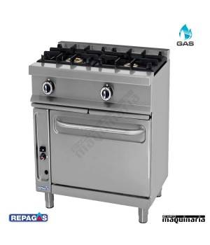 Cocina industrial Repagas RGCG521G dos quemadores de gas y horno industrial