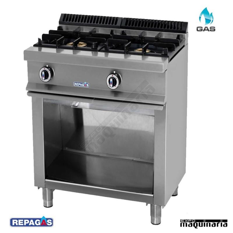 Cocina industrial cg520 con mueble en acero inox for Cocinas repagas