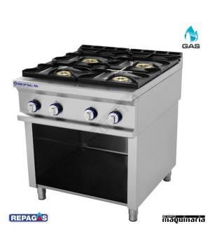 Cocina industrial RE RGCG740/M+S87 repagas con cuatro quemadores a gas