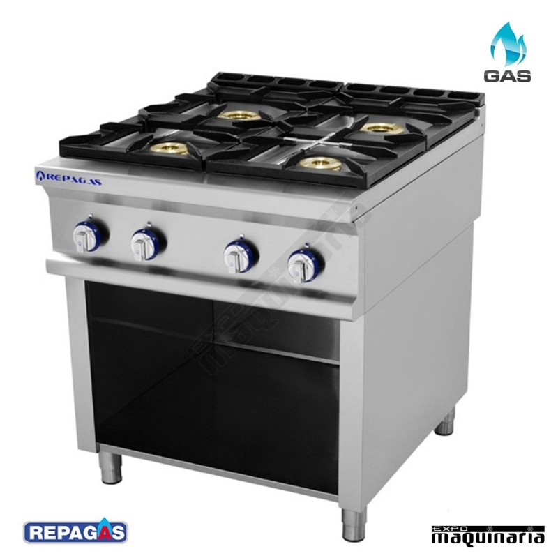 Cocina industrial re c740 con 4 fogones for Cocinas industriales de gas