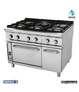 Cocina industrial Repagas RGCG761 seis quemadores de gas y horno industrial