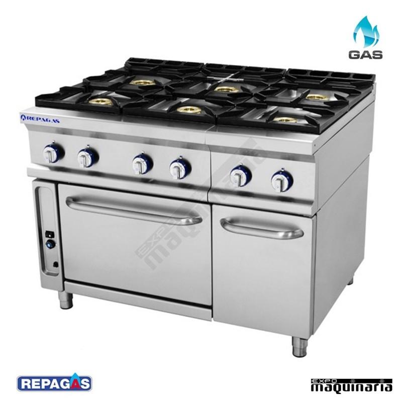 Cocina industrial repagas rgcg761 6 fuegos de gas y horno for Ver cocinas industriales
