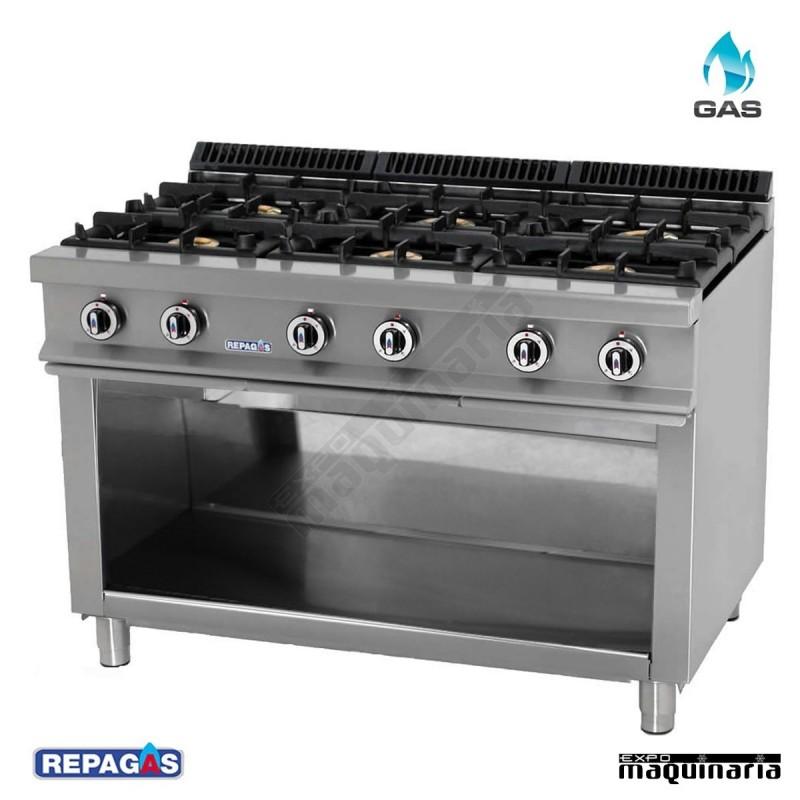 Cocina industrial repagas rgcg 760 seis quemadores de gas for Fogones industriales a gas