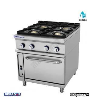 Cocina industrial Repagas RGCG741 cuatro quemadores de gas y horno industrial